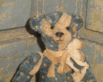 Vintage Blue Calico Old Quilt Bear | Primitive Bear | Jointed SMALL 7 Inch Tall Bear | Handmade Bear | Old Quilt Bear | Antique Quilt Bear