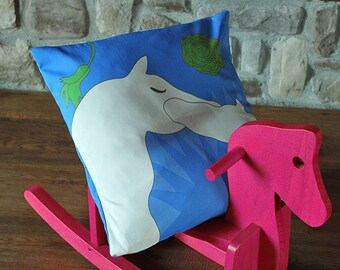 Horses kiss printed pillow cover 20x20