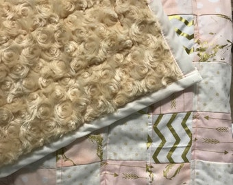 Quilt for Sale -Pink and cream baby girl quilt- modern quilt- baby blanket-