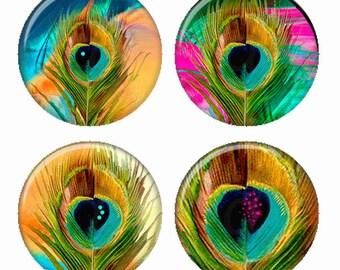 Plumes de paon coloré vibrant aimants ou des macarons ou des médaillons Flatback