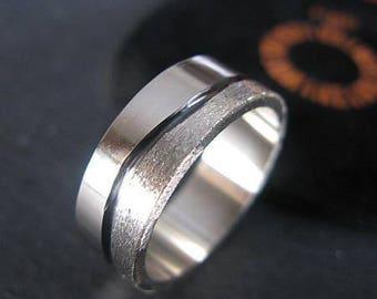 Rustic Mens Wedding Band 14K White Gold 8mm Brushed Finish Mens Wedding Ring Mens Wedding Bands Mens Wedding Rings Unique Mens Wedding Band