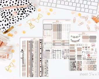 At Home HORIZONTAL Weekly Kit // 130+ Matte Planner Stickers // Perfect for your Erin Condren Life Planner // WKH1070