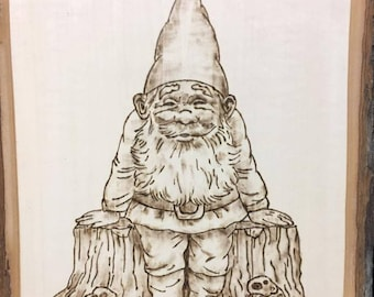 Gnome standing by a tree trunk