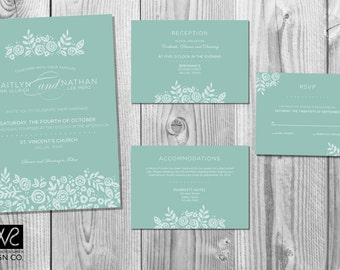 Modern Floral Wedding Invitation Design Suite - Customized - Digital Files Only - Printable