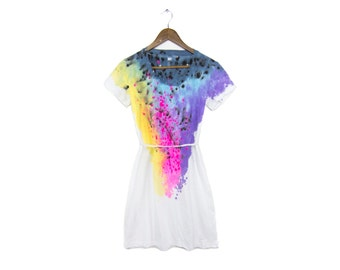 "Spectrum Rainbow Dress - Original ""Splash Dyed"" V-Neck Short Sleeve Tee Dress in White - Women's Size S-3XL"