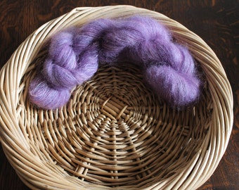 Hand painted kid mohair and silk yarn