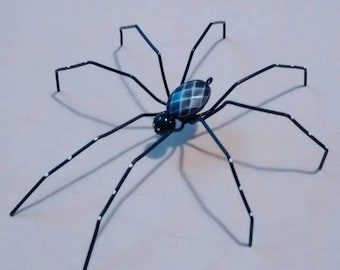 Beaded spider, Spider, gothic decor, gothic, beads, handmade spider, wire and beads, black spider.
