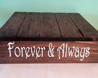LARGE Rustic Wedding Cake Stand, Forever & Always, Wedding Cake Stand, Reclaimed wood, Rustic Cake Stand, Country Wedding decor