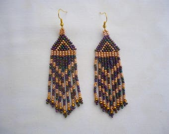 purple iris-gold color long dangle earrings, seed beaded fringe earrings, seed bead jewelry, handmade earrings, handmade jewelry
