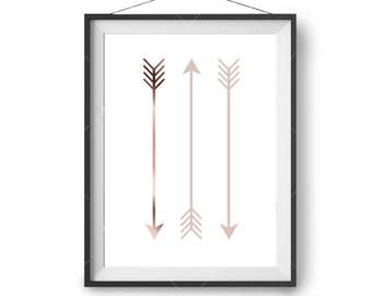 Copper Blush Arrow Print, Art Print, Printable Art, Minimal Print, Nursery Art, Abstract Scandinavian Print, Minimalist Wall Art, Modern