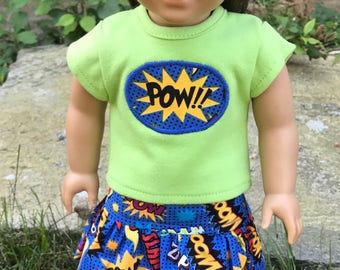 Girl Doll Power clothes, Doll Super Heroes 18 inch doll clothes, Girl Power, Doll POW shirt, American Doll skirt, Glitter shoes