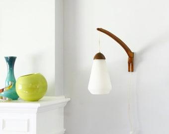 Reserved--Vintage Mid Century Teak/Walnut Danish Modern Wall Mount Swivel Hanging Pendant Teardrop Lamp
