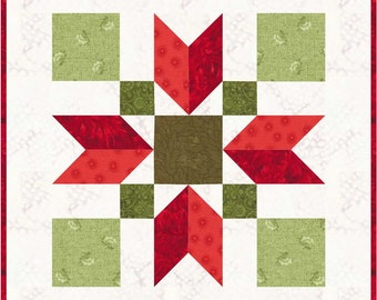 "Christmas Poinsettia 12"" Quilt Block Pattern, PDF, Instant Download, modern patchwork, holiday, festive"