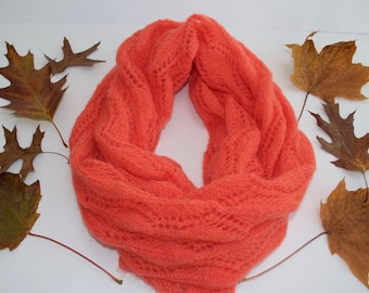 Orange Scarf Mohair Scarf Handknit Scarf Gift for Her