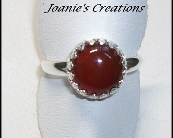 Red Carnelian 10mm Ring in Sterling Silver