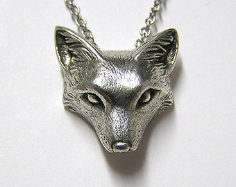 """Fox Necklace Pendant Fox Charm Woodland Snow Fox on 20"""" inchm Metal Chain, Sterling Silver .925"""