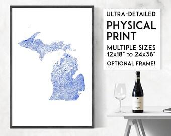 Waterways of Michigan print   Physical Michigan map print, Michigan poster, Michigan wall art, Michigan map art, Michigan art, Detroit map