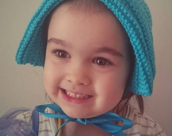 Aqua Blue Turquoise Bonnet to fit 2-3 year old Pure Wool with Satin Ribbon Ties