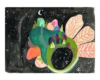 Space Art Print, Surreal Wall Art, Celestial Artwork, Colorful Wall Decor, Galaxy Art, Kids Bedroom Decor, Nursery Print, Nature Wall Art
