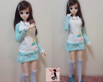 Baby Blue Sweater Set for Smart Doll, Dollfie Dreams, SD 1/3 BJD doll - HARAJUKU Fairy Kei Fashion