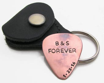Custom Guitar Pick with Leather KeyChain Holder - Personalized Guitar Pick Copper Pick Hand Stamped - Mens Gift - Custom valentines gift