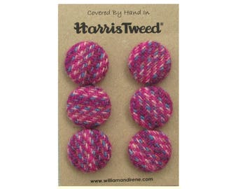 Harris Tweed Pure Wool Shades of Pink Handmade Covered Set of 6 Buttons 24mm Diameter