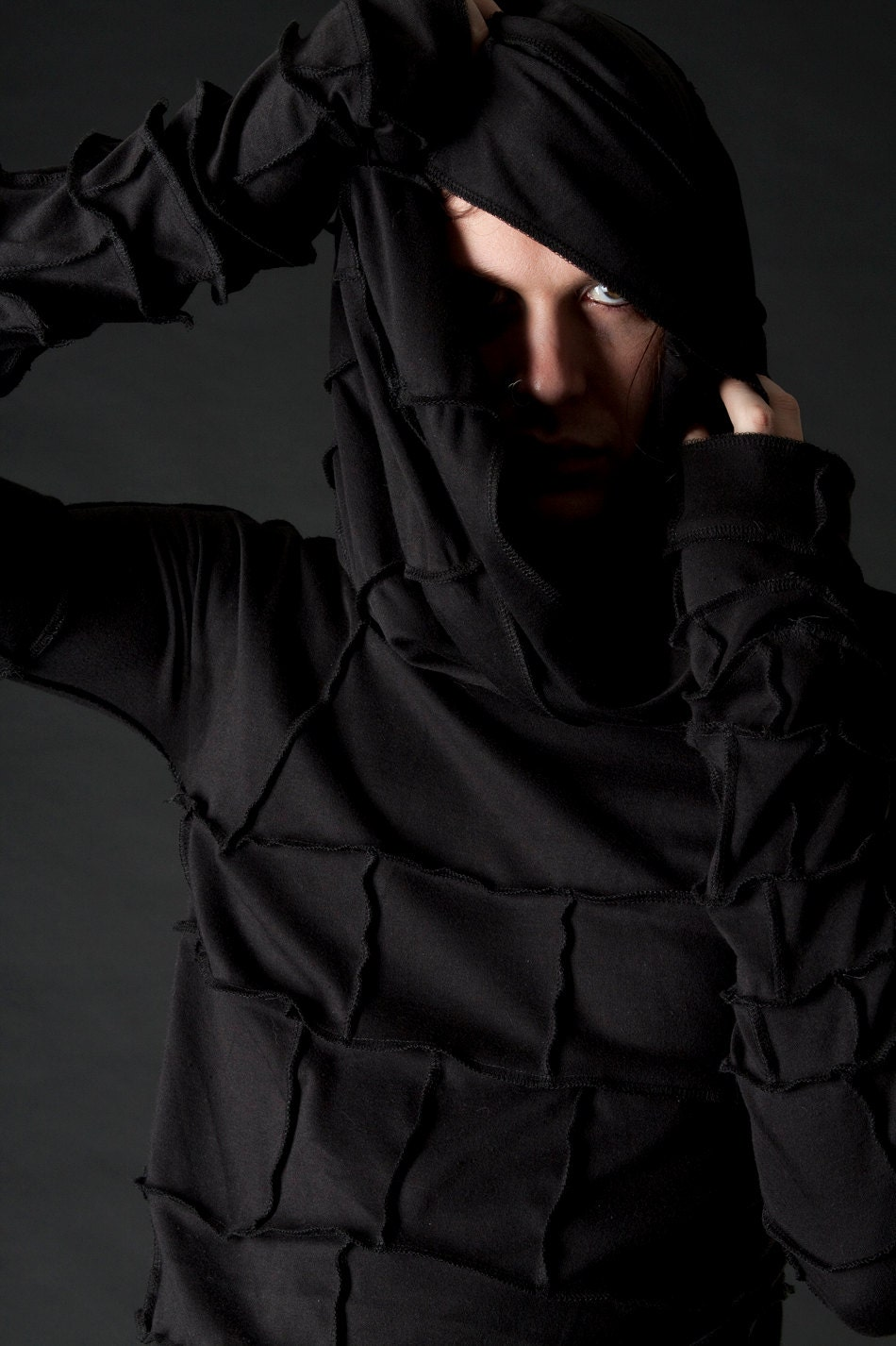Apocalyptic Shroud Hooded Long Sleeved Mens Shirt