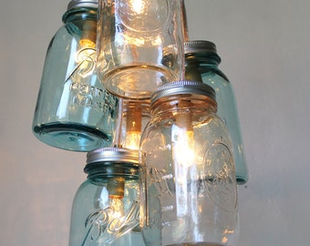 Mason Jar Chandelier, Handcrafted Rustic Hanging Lighting Fixture, 6 Clustered Clear and Antique Aqua Blue Jars, BootsNGus Lights & Decor