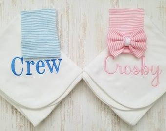 Personalized twin blankets- newborn twins receiving blanket, newborn hospital hats, twin hats, baby gift, personalized blankets,  30x40