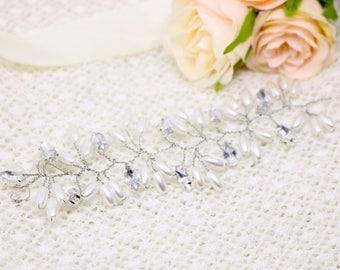 Hair vine, bridal hair vine, pearl and rhinestone hair accessories, wedding hair accessories, pearl, crystal vine