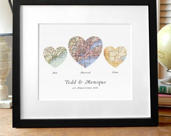 Heart Map Print, Wedding or Engagement Gift, Three Map Heart, Custom Wedding Gift, We met we wed we married