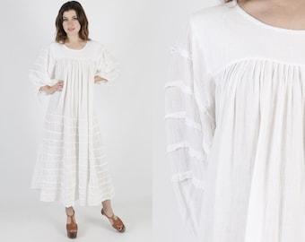 Gauze Dress Cotton Dress Maxi Dress Summer Dress Sun Dress Vintage 70s Ivory White Boho Hippie Ethnic Tiered Sweeping Lounge Long Dress M