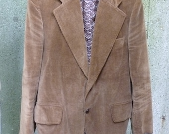 70's Mod Jacket Corduroy Hipster Velveteen Cotton Blazer Mens Size 42 Regular Made in Japan 1970s