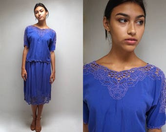 Bali EMBROIDERED TOP and SKIRT Indonesian Dress Bali Top Skirt Embroidered Dress Bali Dress Cutwork Dress Two Piece Set Purple Dress Boho
