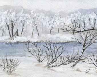 "Winter Watercolor Print - Christmas Scene 5"" x 7"""