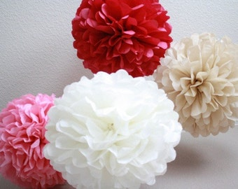 Tissue Paper Pom Poms - Set of 10 Poms- Your Color Choice - Sale
