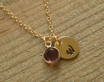 Initial and Birthstone Necklace - Bridesmaid Necklace - January February March April May June July August September October November