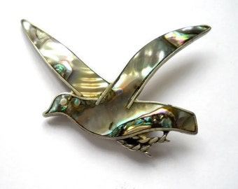 Vintage Brooch Sea Gull Taxco Sterling Silver Abalone