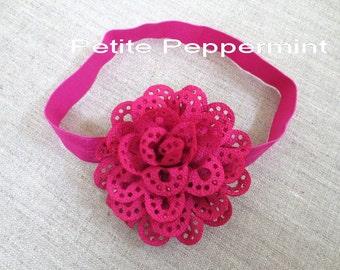 Baby headband, newborn headband, infant headband, toddler headband - Fuschia Baby Flower Headband
