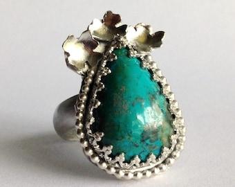 Chrysocolla Flower Ring - Blue Green Stone Ring - Size 9 Ring - Flower Ring - Floral Ring - Flower Jewelry - Statement Ring