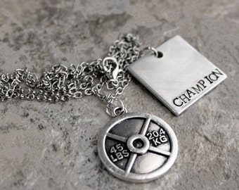 Champion Necklace, Power Lifting Jewelry, 45lb Weight Plate Necklace, Body Builder, Training Coach