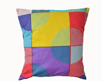 African Wax Print Pillow Cover. Unique colourful patterned cotton cushion cover in blue, red, gold and purple. 20x20inch (50x50cm).