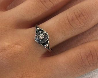 White zircon silver ring, 925 Sterling silver ring, Ring size 7, Statement ring, Bohemian style ring, Round zircon silver ring, Zircon ring,