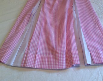 Pink and white box pleated dress