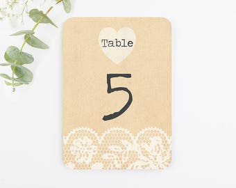 Rustic Lace Wedding Table Number
