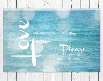 Inspirational Wall Art | Inspirational Quote Print | Ocean Photography | Turquoise | Typography Art Print | Word Art Print | Joy Peace Love