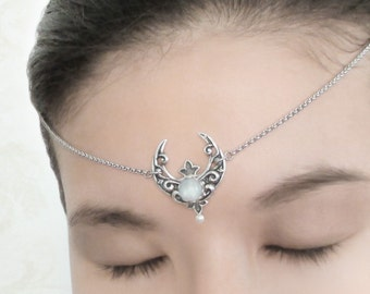 Selene Headchain - Silver Crescent Moon Circlet, Rainbow Moonstone Head Chain Jewelry, Moon Goddess Headpiece, Moonsong Collection