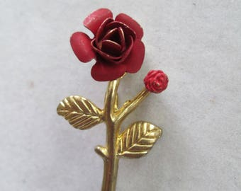 Red and gold Rose flower Brooch pin great grandma's from the 1940's