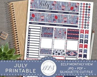 July 4th Printable Stickers, Fourth of July Stickers Kit, ECLP July Monthly View, Life Planner July Kit, July Monthly Stickers, MV101