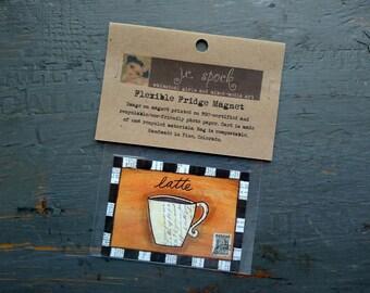 """VENTE!  Art Magnet, aimant Flexible, aimant frigo, café lunatique, latte art, art de médias mélangés, 2.5 """"x 3,5"""" (64 x 89mm) «Cafe Latte»"""